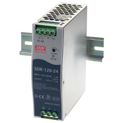 Product image of DuraComm Corporation SDR-120-24 MeanWel Power Supply Din Rail mount 120vac 24v 0-5 amp